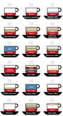 Coffee set types menu — Stock Photo