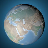 Globe icon with smooth shadows and map of the continents — Stock Photo