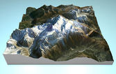 Map aerial view of Mont Blanc (Monte Bianco). — Stock Photo
