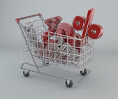 Shopping Cart with discounts — Stock Photo