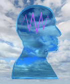 Head with thinking wave — Stock Photo