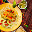 Background: Cinco De Mayo Background of Taco Plate - Stock Photo