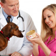 Veterinarian: Holding a Can of Dog Food — Stock Photo