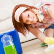 Cleaning: Fun to Spring Clean the Floors - Stok fotoğraf