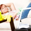 Cleaning: Woman Taking a Rest Break from Spring Cleaning — Stock Photo