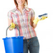 Cleaning: Holding Bucket and Sponge — Stock Photo #24206391