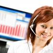 CSR: Customer Service Representative with Computer Monitor — Stock Photo