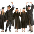 Stock Photo: Graduation: Graduates with Diplomas Cheering