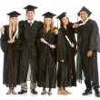 Graduation: Teen Friends Hang Out in Graduation Attire — Stock Photo