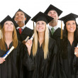 Graduation: Group of Graduates with Diplomas Look Upwards — Photo