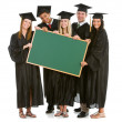 Graduation: Grads Holding a Blank Chalkboard for Message — Stock Photo #24209575