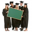 Graduation: Grads Holding a Blank Chalkboard for Message — Stock Photo
