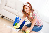 Cleaning: Spring Cleaning and Scrubbing the Floor — Stock Photo