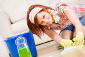 Cleaning: Fun to Spring Clean the Floors — Stock Photo