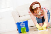 Cleaning: Using Soapy Water to Scrub the Floors — Stock Photo