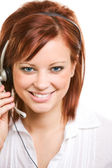 CSR: Front View of Pretty Customer Representative — Stock Photo