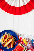 Background: Summertime Picnic Background with Hot Dogs — Stock Photo