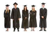 Graduation: Row of Cheerful Recent Graduates — Stock Photo