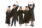 Graduation: Graduates with Diplomas Cheering — Stock Photo