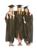 Graduation: Girlfriends Together with Diplomas — Stock Photo