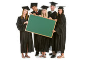 Graduation: Grads Holding a Blank Chalkboard for Message — Fotografia Stock