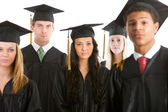 Graduation: Group of Serious Graduates Look to Camera — Stockfoto