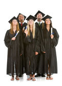 Graduation: Group of Graduates Look Upwards — Stock Photo