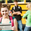 School Bus: Girl Student Has Great Report Card — Stock Photo