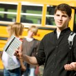School Bus: Mad at Bad Report Card - Stock Photo