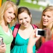 School Bus: Girls Taking Photo Together — Stock Photo