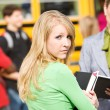 School Bus: Girl Gets in Trouble for Breaking Rules - Stock Photo