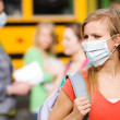 Stock Photo: School Bus: Girl Has to Wear Mask to Avoid Disease