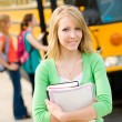 School Bus: Teen Student in Front of Bus — Stock Photo