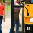 School Bus: Anonymous Students Boarding Bus — Stock Photo