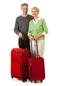 Couple: Passengers Standing with Luggage — Stock Photo