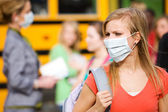 School Bus: Girl Has to Wear Mask to Avoid Disease — Stock Photo