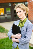 School Bus: Serious School Principal — Stock Photo