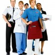 Occupations: Serious Waitress Leads Group — Stockfoto