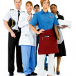 Occupations: Serious Waitress Leads Group — Foto Stock