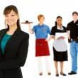 Occupations: Confident Businesswoman Leads Group — Stockfoto