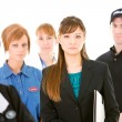 Occupations: Serious Businesswoman Leads Group — Stock Photo