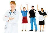 Occupations: Confident Doctor Leads Group — Stock Photo