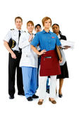 Occupations: Serious Waitress Leads Group — Stock Photo
