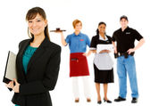 Occupations: Confident Businesswoman Leads Group — Stock Photo