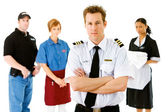 Occupations: Airline Pilot Leads Serious Group — Stock Photo