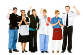 Occupations: Group of Various Businesspeople Cheering — Stock Photo