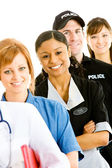 Occupations: Cheerful Housekeeper with Other Occupations — Stock Photo