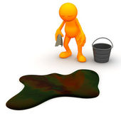 3d Guy: Has to Clean Up Oil Spill — Stock Photo