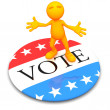 3d Guy: Standing on Giant Vote Button — Stock Photo