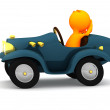 3d Guy: Reckless Driver with Hands Off Wheel — Stock Photo